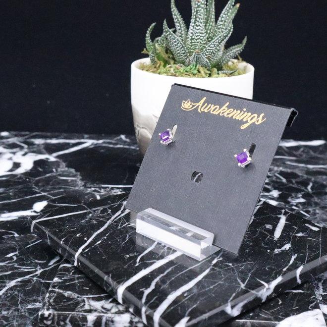Amethyst Cab Earrings - Stud