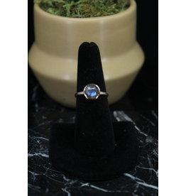Rose Gold Labradorite Ring - Size 9