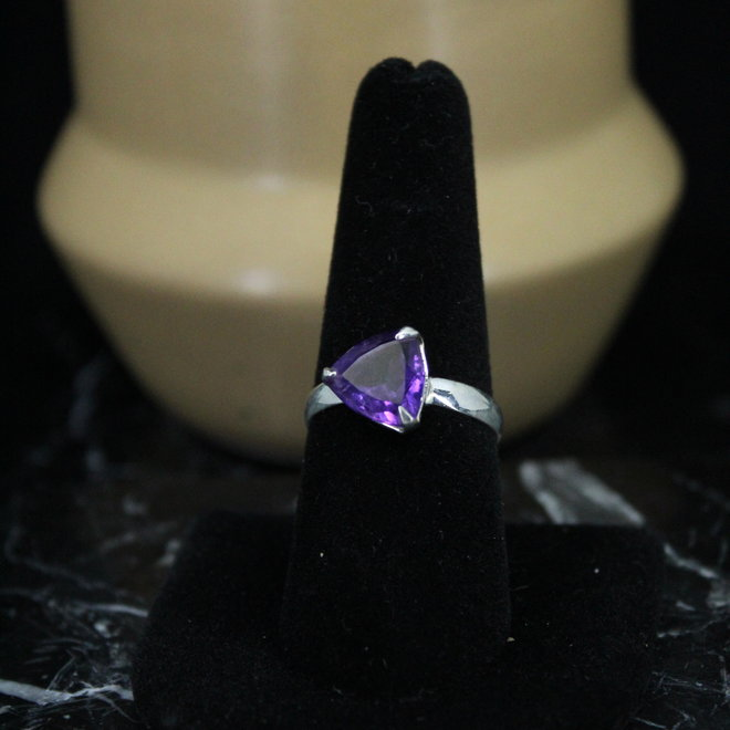 Amethyst Ring - Size 9 - Sterling Silver Triangle