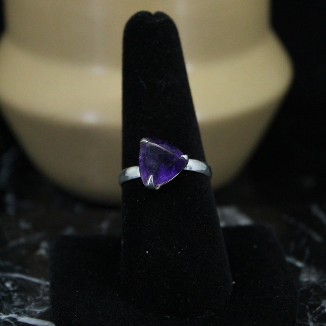 Amethyst Ring - Size 8 - Sterling Silver Triangle