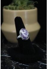 Chevron Amethyst Ring (Oval) - Size 8