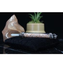 Peach Moonstone Chambered Wand-Pendulum