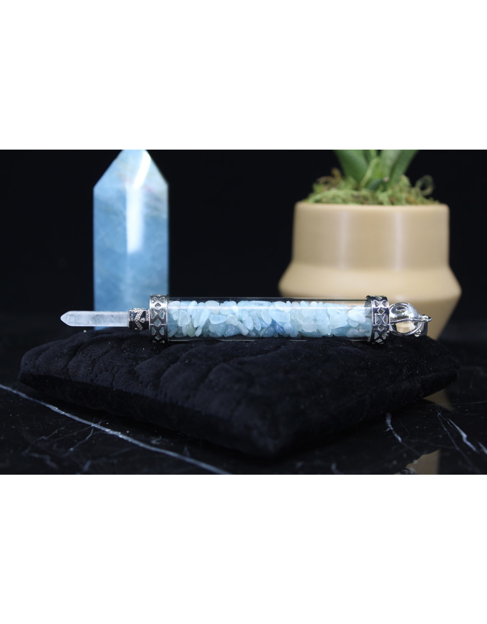 Aquamarine Chambered Wand-Pendulum
