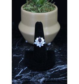 Garnet Ring (Lotus) - Size 7