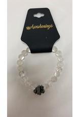 Clear Quartz w/Three Alexandrite Stones Bracelet - 8mm