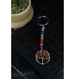 Chakra Bead Goldstone Tree of Life- Keychain