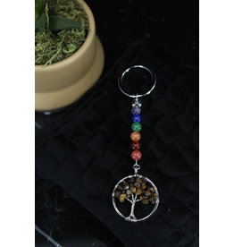 Chakra Bead Gold Tiger Eye Tree of Life- Keychain