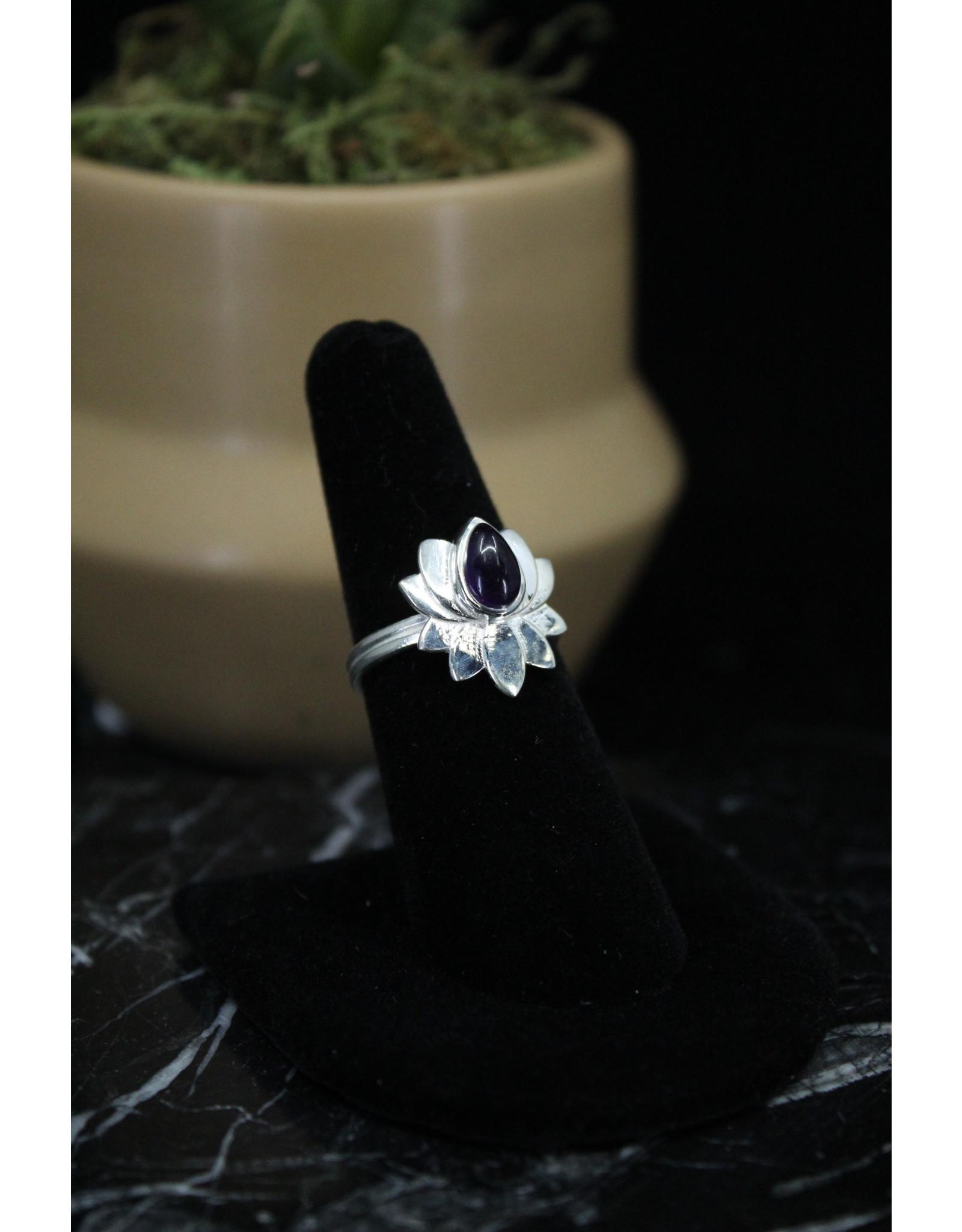 Amethyst Ring (Lotus)  - Size 7