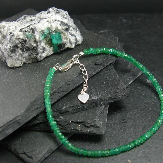 Emerald Bracelet - 4mm Rondelle Beads