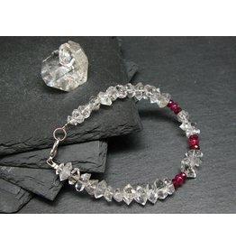 Herkimer Diamond & Ruby Bracelet - 10mm