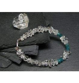 Herkimer Diamond and Grandidierite Bracelet - 10mm