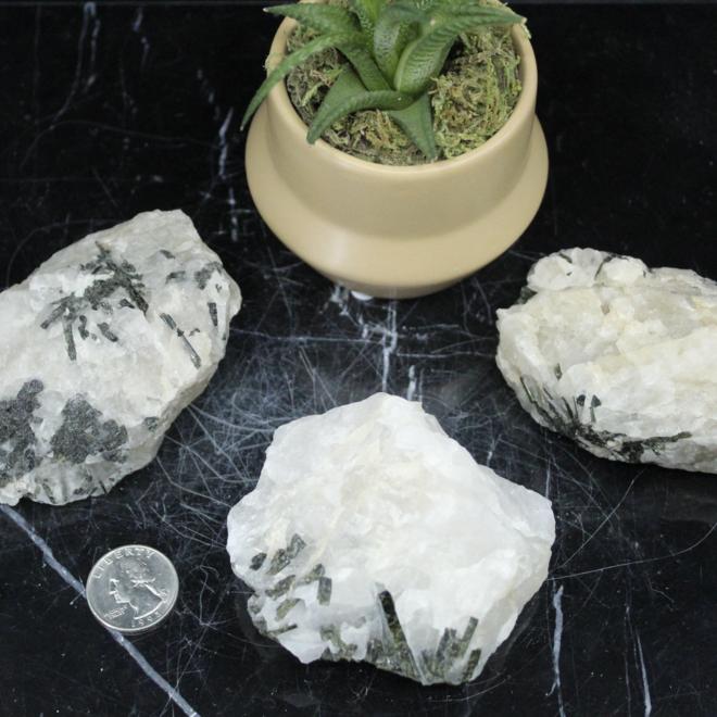 Clear Quartz w/ Epidote Inclusions Large- Rough Raw Natural