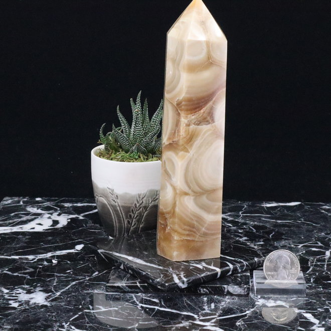 Amber Calcite Tower Point-XLarge
