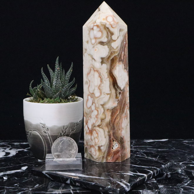 Amber Calcite Tower Point-Large #1