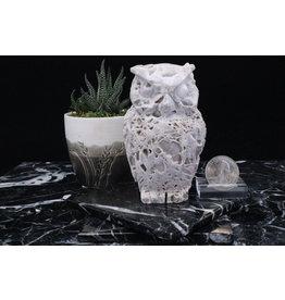 White Druzy Sphalerite Owl
