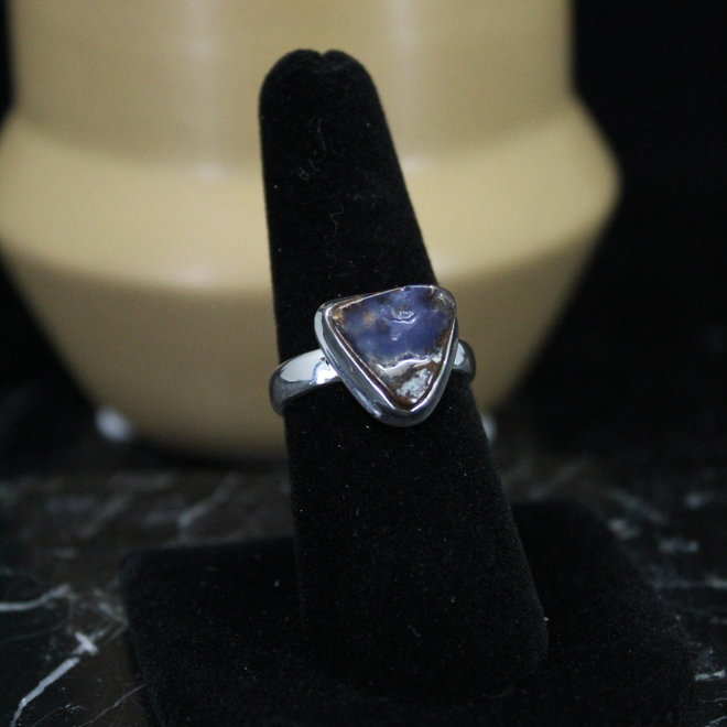 Boulder Opal Ring - Size 7 - Sterling Silver Triangle