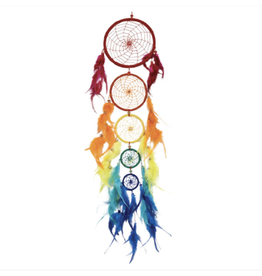 Rainbow Dreamcatcher w/ 5 Circles 27 inch
