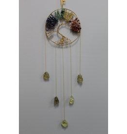 Gold Chakra Tree of Life Wind Chime Windchime Mobile - Citrine