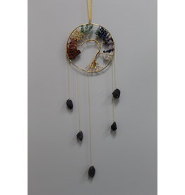 Gold Chakra Tree of Life Wind Chime Windchime Mobile - Amethyst
