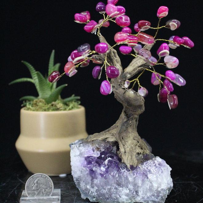 Agate (Dyed)  Bonsai Tree on Amethyst 5.5 inch