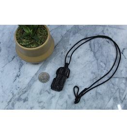 Black Tourmaline on Wax Cord Necklace