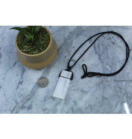 Selenite/Satin Spar on Wax Cord Necklace