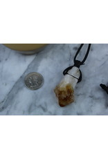 Citrine Point on Wax Cord Necklace