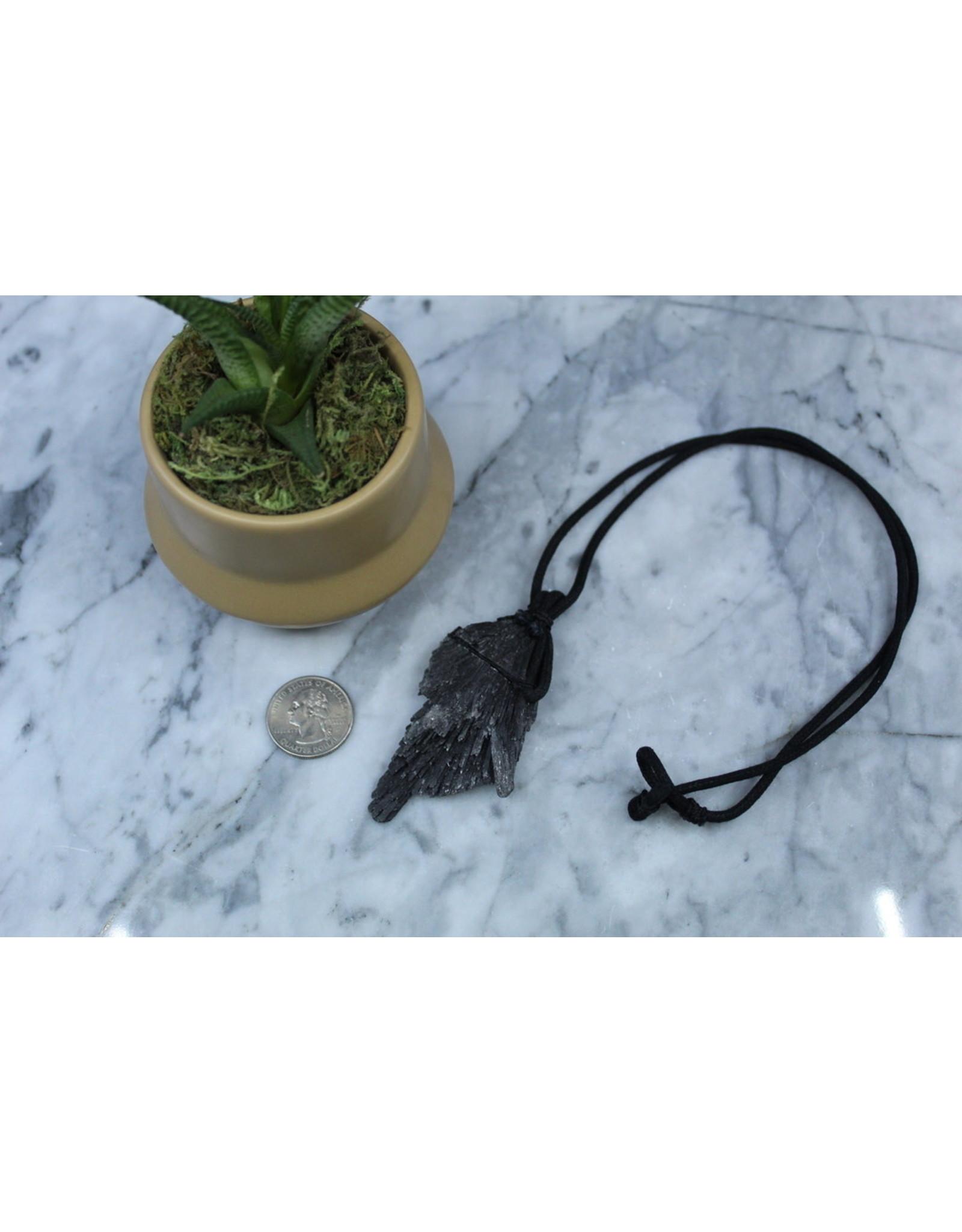 Black Kyanite Fan on Wax Cord Necklace
