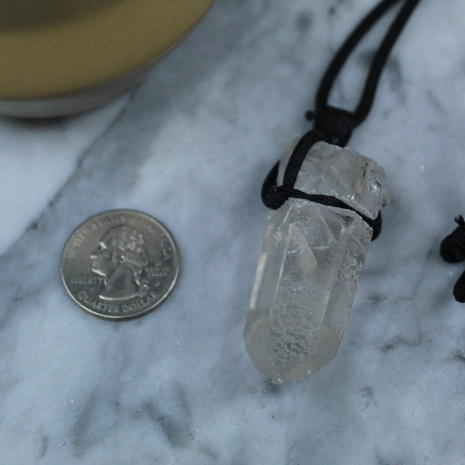 Clear Quartz Point on Wax Cord Necklace