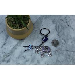 Evil Eye Elephant Keychain 4.5 Inch
