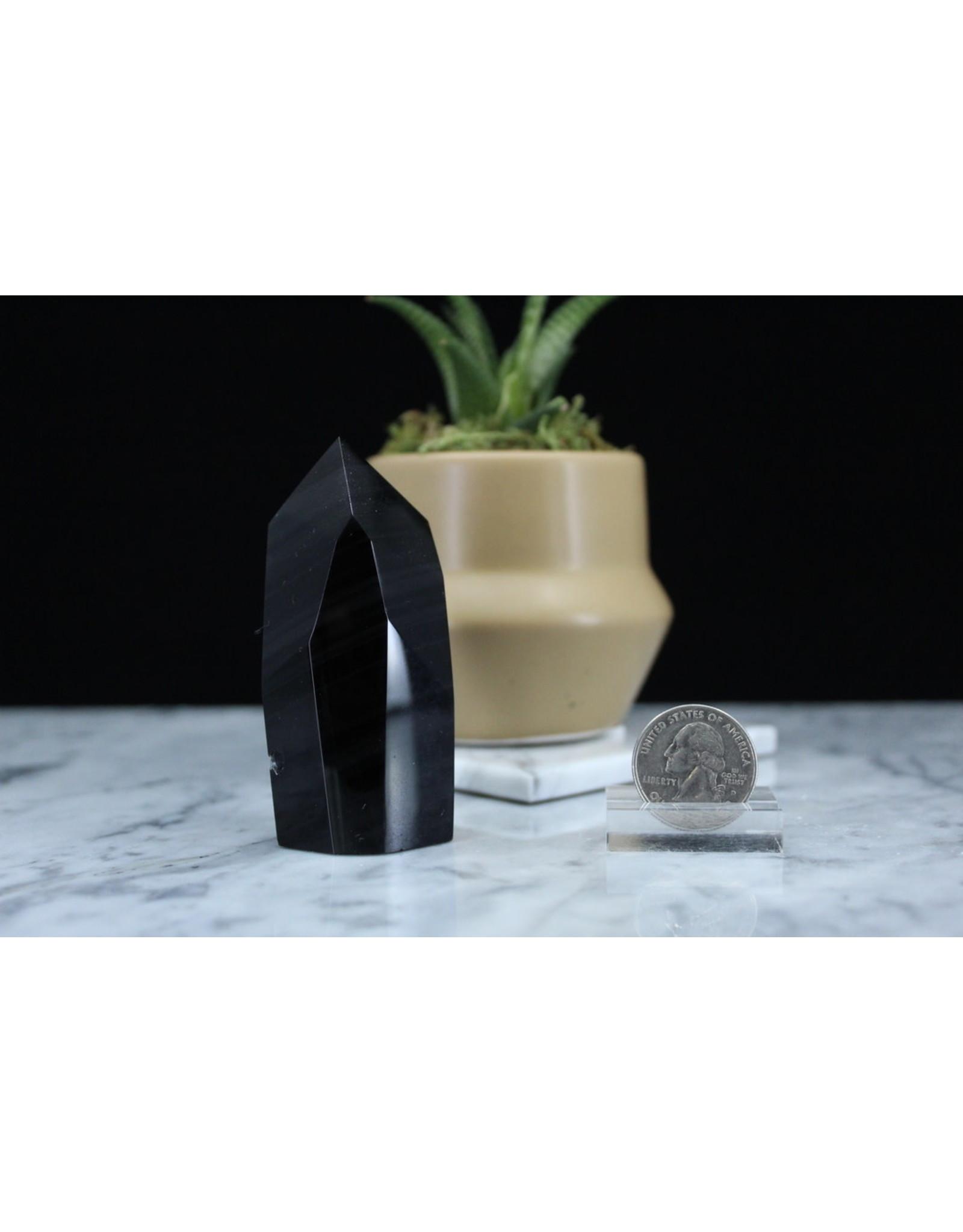 Banded Black Obsidian Free Form Point