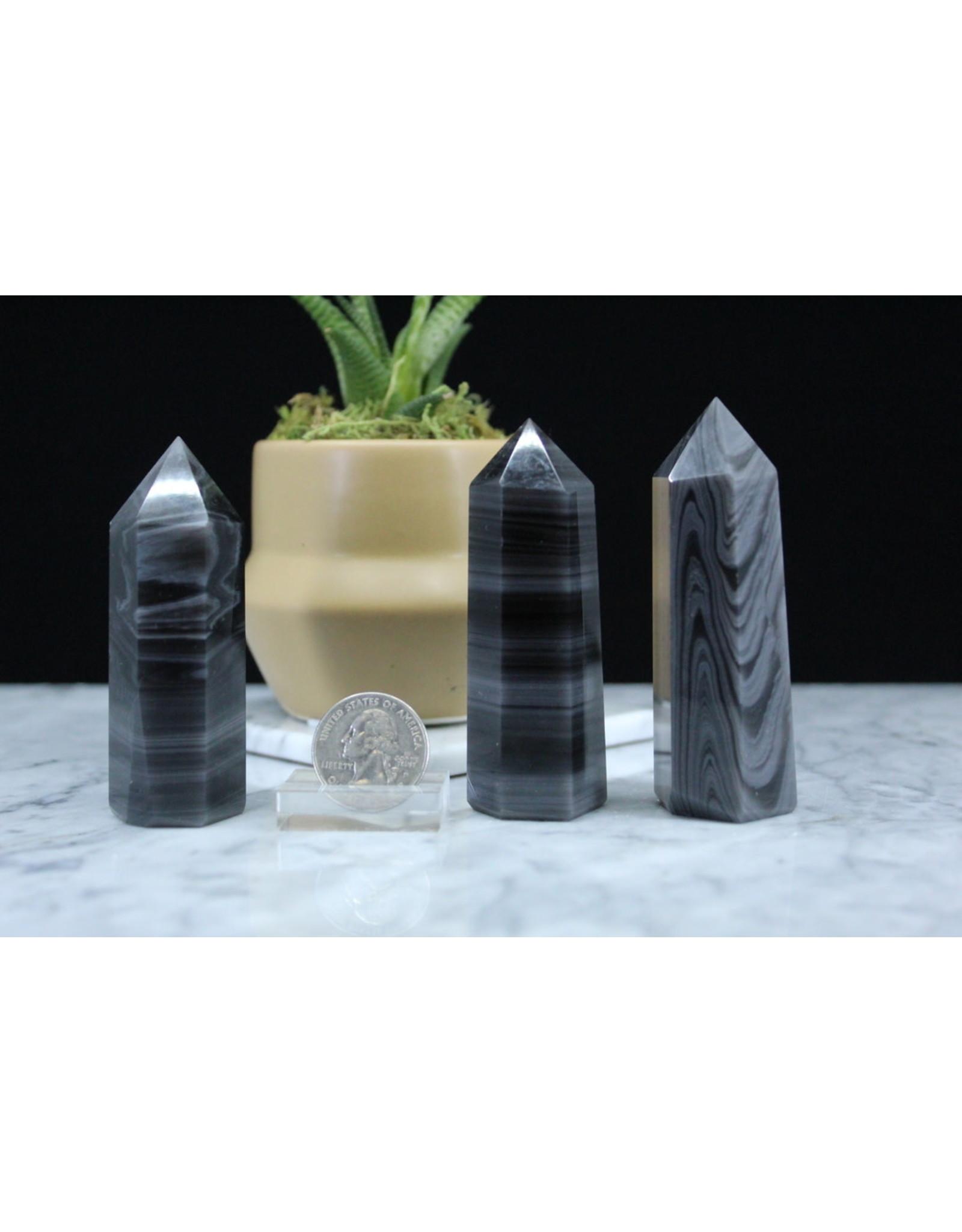 "Banded Black Obsidian Tower/Point-Medium (3-4"")"