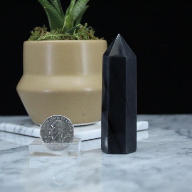 "Black Banded Obsidian Tower Point-Medium (2-3"")"