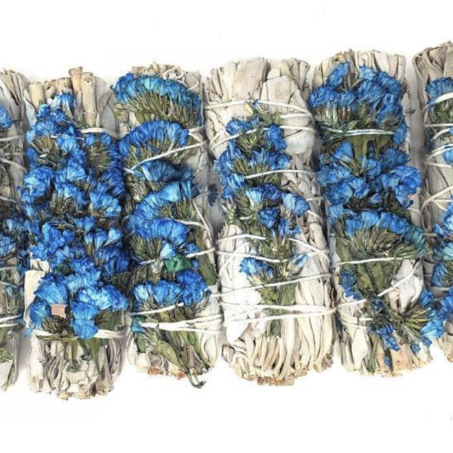 Blue Sage Smudge Stick w/Statice Sinuata