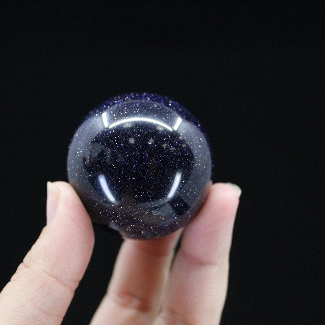 Blue Sandstone/Goldstone Sphere/Orb-40mm