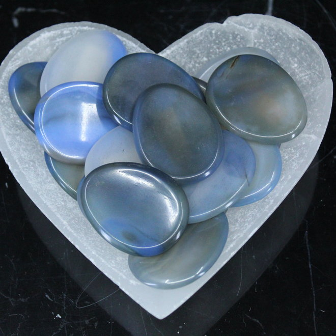Blue Onyx Worry Stone -Large Oval