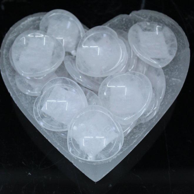Clear Quartz Worry Stone-Heart