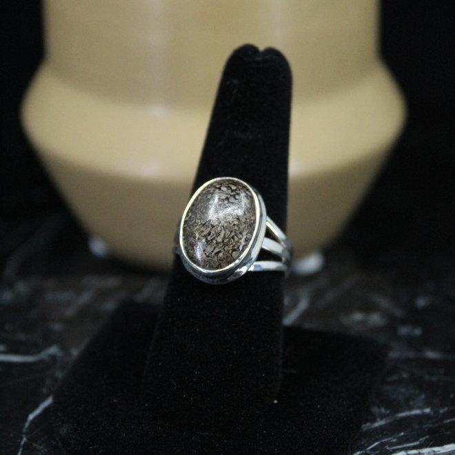Dinosaur Bone Ring - Size 8 - Sterling Silver Oval