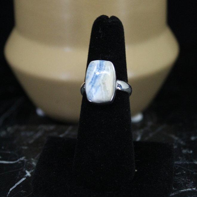 Blue Scheelite Sterling Silver Rectangle Ring  - Size 6