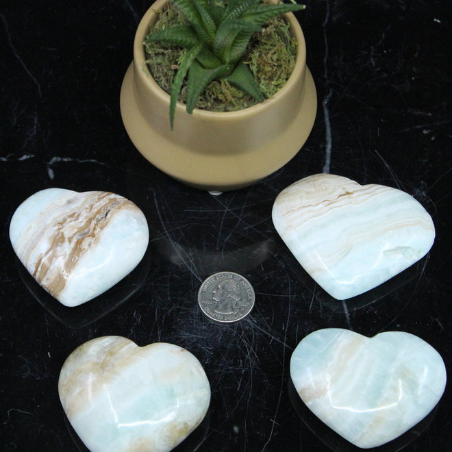 Caribbean Blue Calcite Heart Large