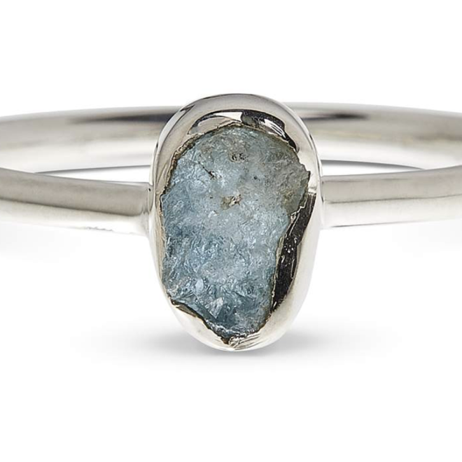 Aquamarine Sterling Silver Ring - Size 4