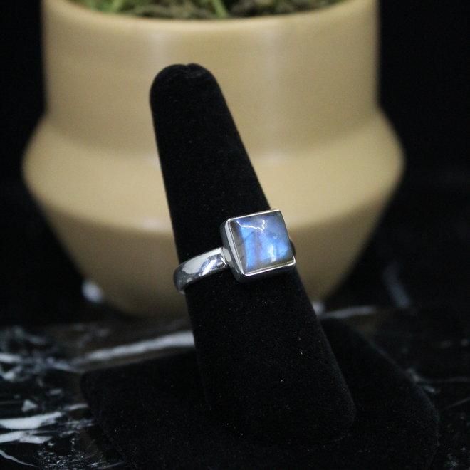 Blue Labradorite Ring - Size 8 - Sterling Silver Square