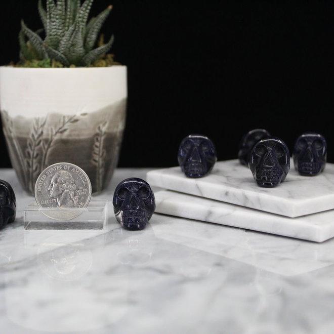 Blue Sandstone/Goldstone Skull-Mini