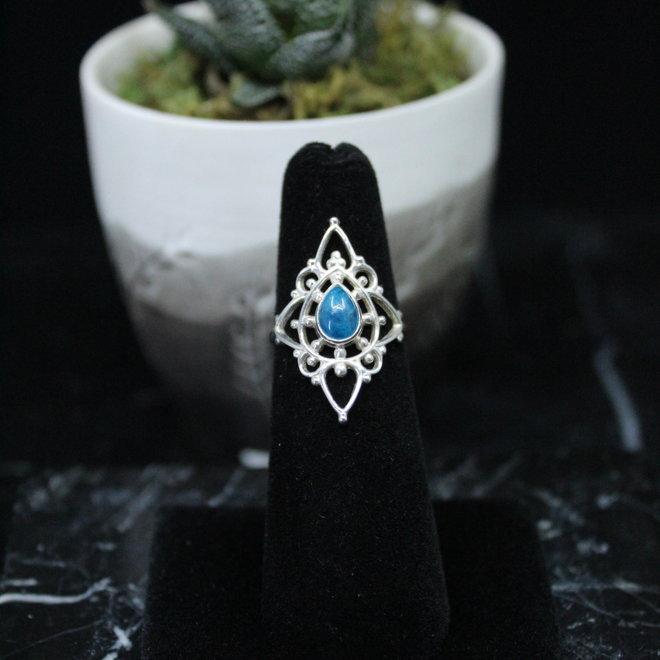 Apatite Ring - Size 5 - Sterling Silver Fancy Teardrop