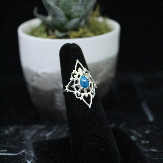 Apatite  Ring - Size 6 - Sterling Silver Fancy Teardrop