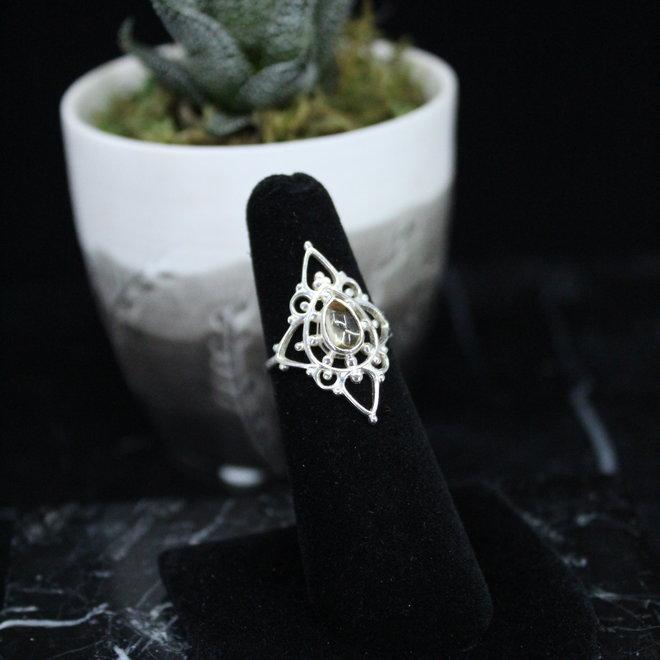 Citrine Ring - Size 5 - Sterling Silver Fancy Teardrop