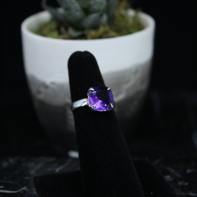 Amethyst Ring - Size 6 - Sterling Silver Square