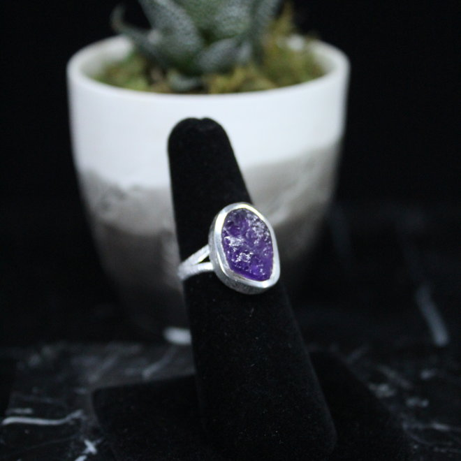 Amethyst Ring - Size 6 - Sterling Silver Textured