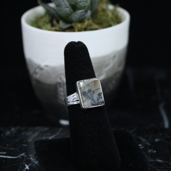 Dendrite Sterling Silver Square Ring - Size 6