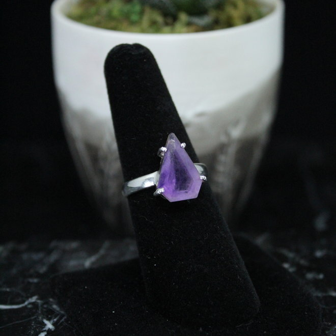 Amethyst Ring - Size 6 - Sterling Silver Faceted Pear